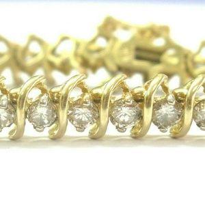 Jewelry - Fine Round Cut Diamond Yellow Gold Tennis Bracelet